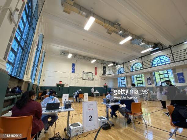 A coronavirus antibody testing center is seen in Brooklyn New York United States on May 15 2020 Bio Reference Laboratories OPKO Health Co is...
