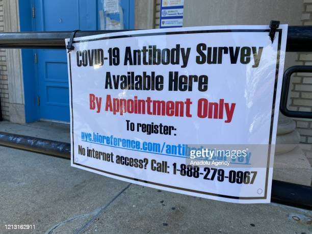 A coronavirus antibody testing place at the NYPD Community Center is seen in Brooklyn New York United States on May 15 2020 Bio Reference...