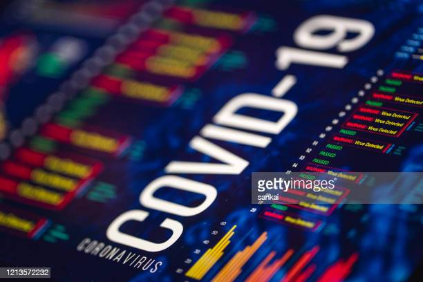 coronavirus charts and graphs on digital display - epidemic stock pictures, royalty-free photos & images