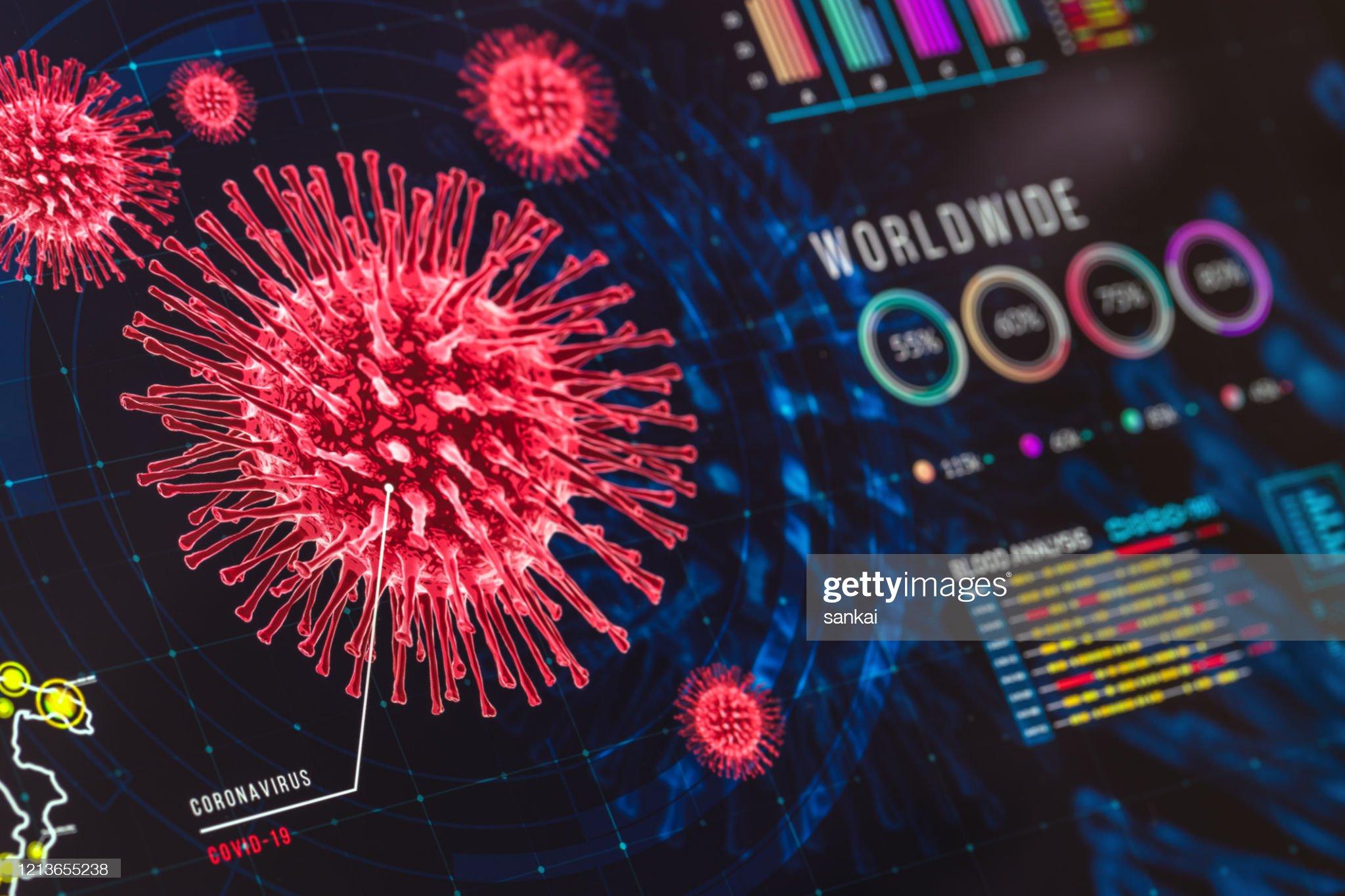 Gráficos e gráficos de coronavírus no display digital : Foto de stock