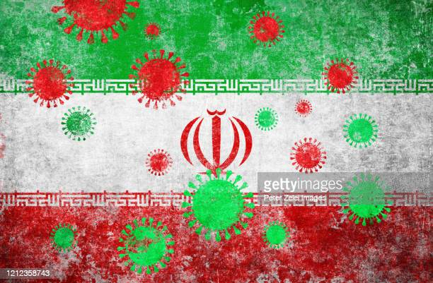 coronavirus covid-19 and iranian flag - iran stock pictures, royalty-free photos & images