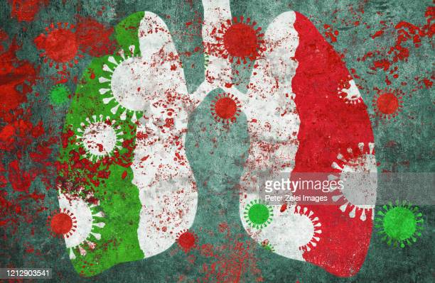 coronavirus covid-19 and lungs in italian colors - italy coronavirus stock pictures, royalty-free photos & images