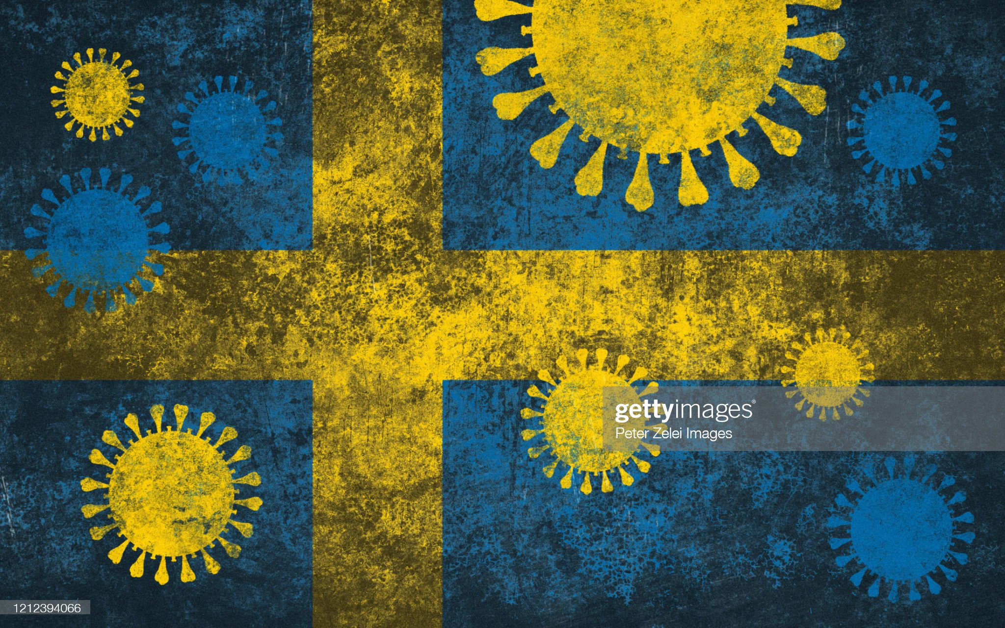 Coronavirus COVID-19 and Swedish Korean Flag : Stock Photo