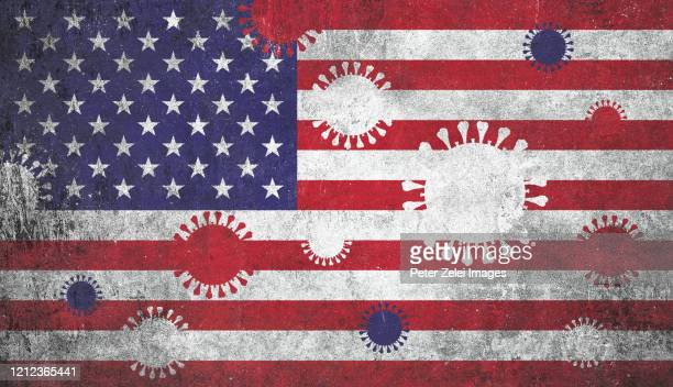 coronavirus covid-19 and usa flag - usa stock pictures, royalty-free photos & images