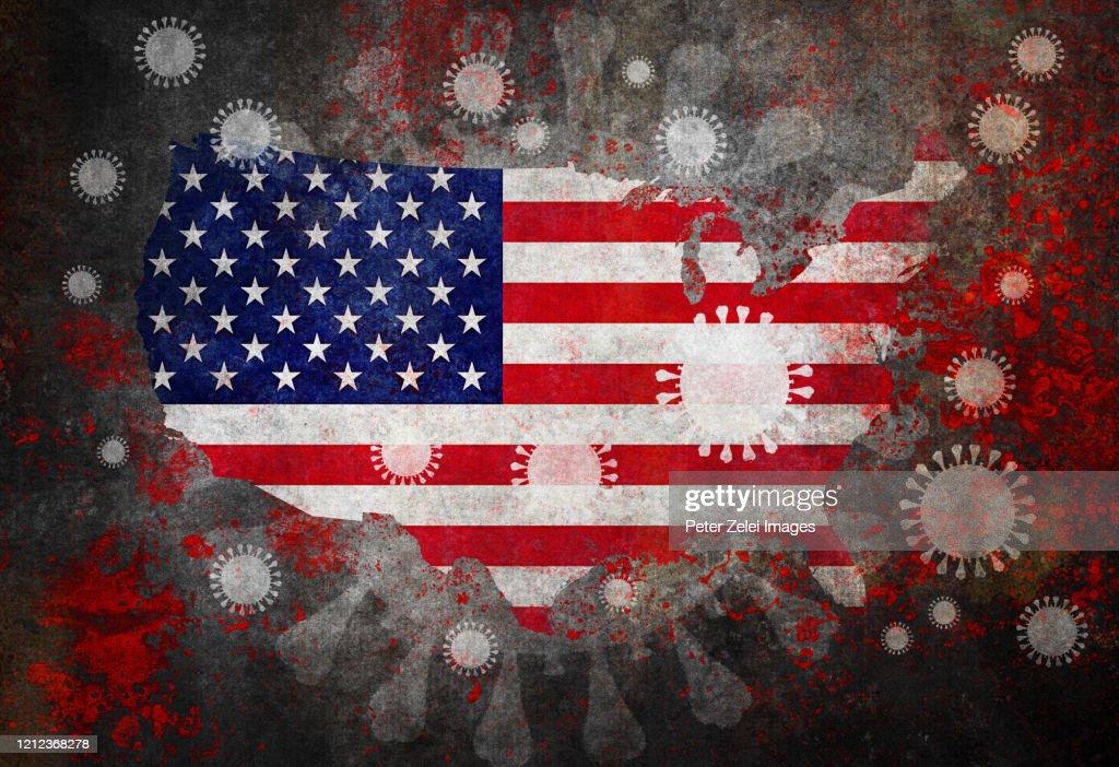 Coronavirus COVID-19 and USA map with Flag : Stock Photo