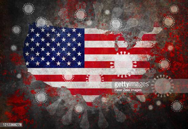 coronavirus covid-19 and usa map with flag - usa stock pictures, royalty-free photos & images
