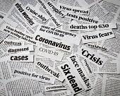 Coronavirus, covid-19 newspaper headline clippings. Print media information isolated