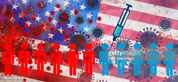 coronavirus covid-19 vaccination with usa flag in the background - american culture stock pictures, royalty-free photos & images