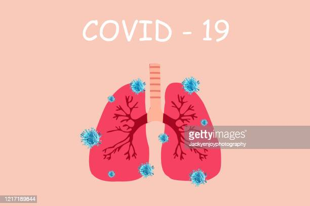 coronavirus covid-19 virus , flu virus , tuberculosis bacterium , infects lungs. - covid icons stock pictures, royalty-free photos & images