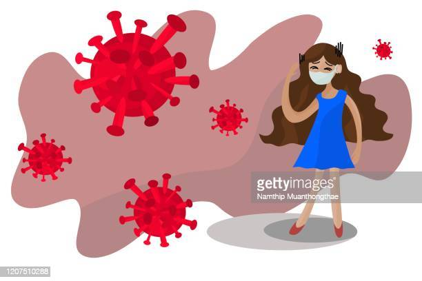 coronavirus disease or covid-19 with the patient woman in cartoon style, the coronavirus were creating by red color which shows the dangerous of symptoms and people should wear the mask for preventing the virus may into the body. - mask cartoon characters stock pictures, royalty-free photos & images