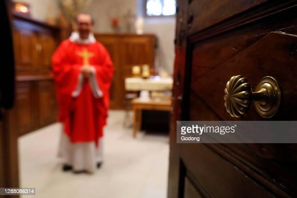 Coronavirus epidemic . Lockdown. Easter 2020. Celebration of the Good Friday Mass. Sallanches. France.