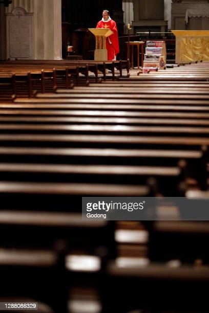 Coronavirus epidemic . Lockdown. Easter 2020. Celebration of the Good Friday Mass. Empty church. Sallanches. France.