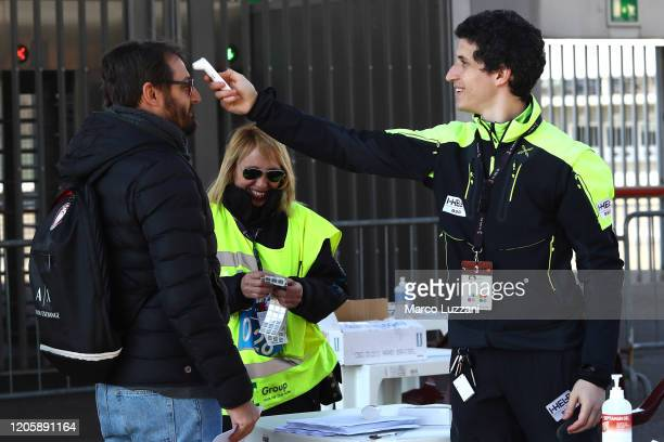Coronavirus health checks take place before the Serie A match between AC Milan and Genoa CFC at Stadio Giuseppe Meazza on March 8, 2020 in Milan,...