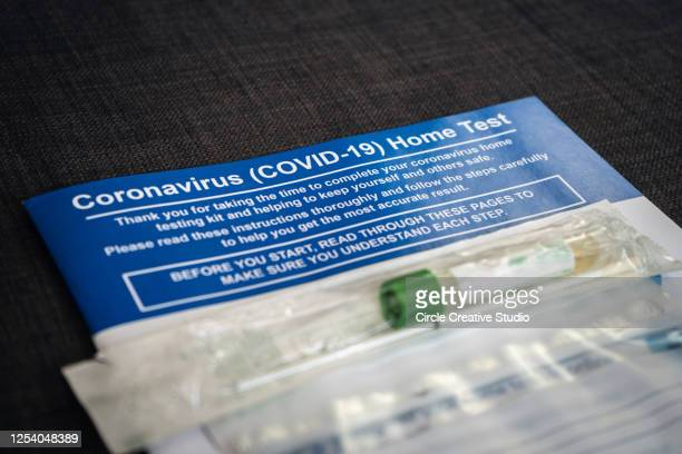 coronavirus home test (covid-19) - medical examination stock pictures, royalty-free photos & images