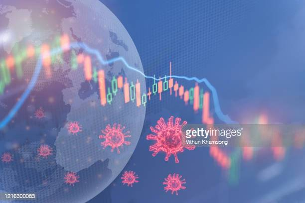 coronavirus impact global economy stock markets financial crisis concept,the coronavirus or covid-19 sinks the global stock exchanges. graphs representing the stock market crash caused by coronavirus - crisis stock pictures, royalty-free photos & images
