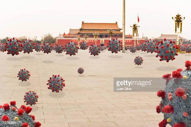 coronavirus in tianamen square, beijing, china - epidemic stockfoto's en -beelden