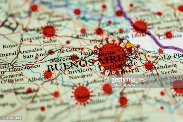 coronavirus-infektion karte, buenos aires - lateinamerika stock-fotos und bilder