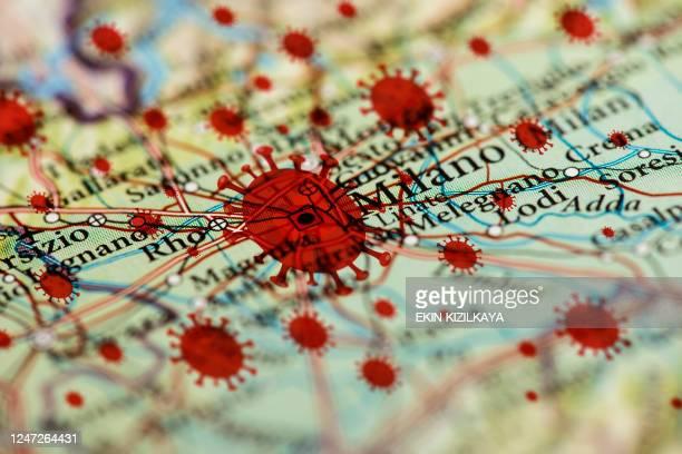 コロナウイルス感染マップ, ミラノ - ロンバルディア州 ストックフォトと画像