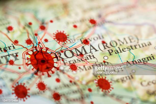 coronavirus infection map, rome - roma lazio foto e immagini stock