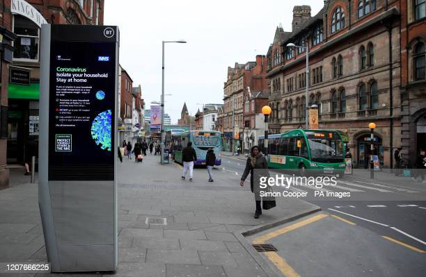 Coronavirus information being shown on an LED information board on Upper Parliament Street in Nottingham after NHS England announced that the...