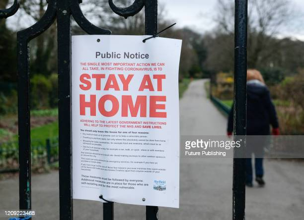 Coronavirus Lockdown. The local authority at Graves Park, Sheffield have tied-up swings and rides in the public area as Britons are urged to stay at...