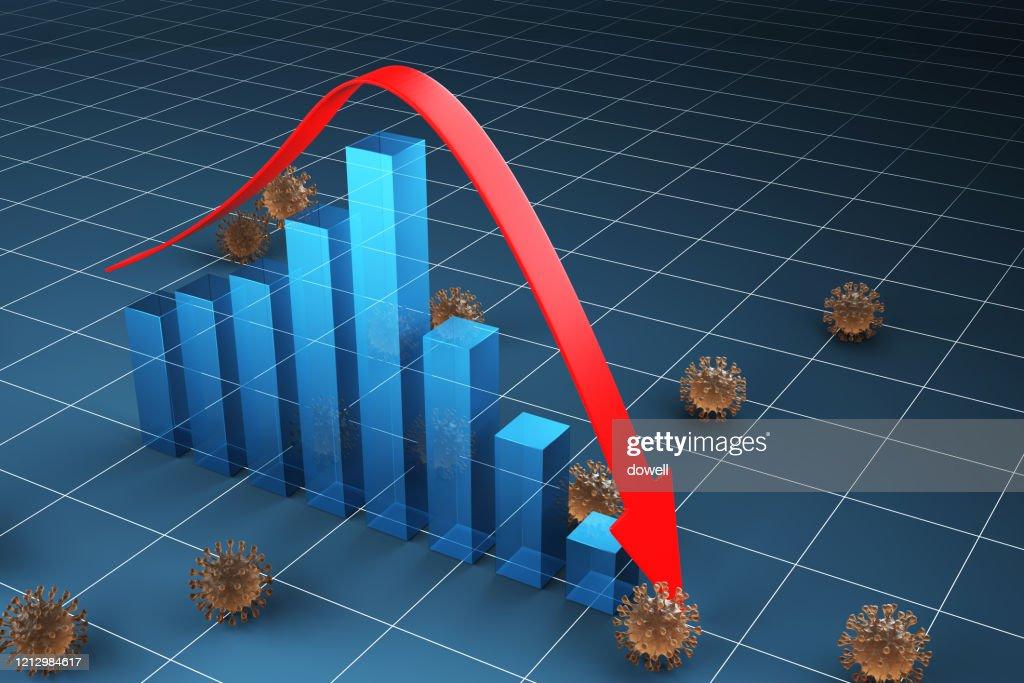 coronavirus make business collapse ,3d render : Stock Photo
