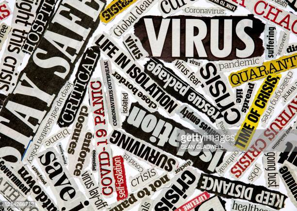 coronavirus newspaper headline montage - crisis stock pictures, royalty-free photos & images