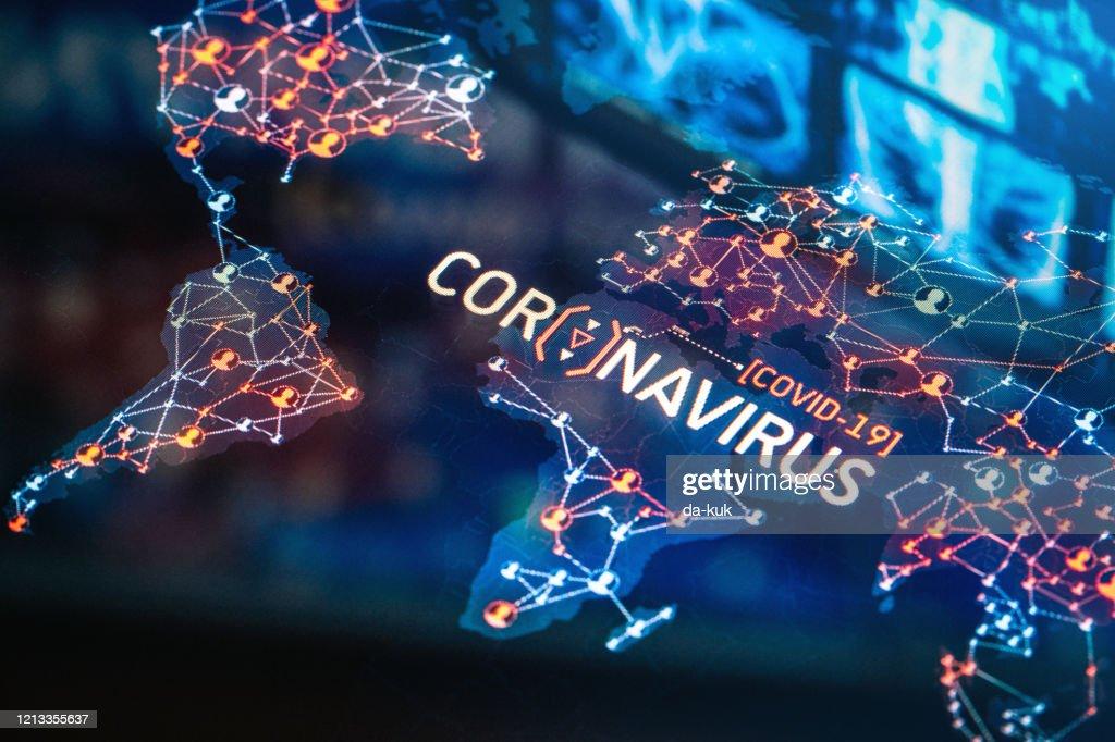 Coronavirus Outbreak on a World Map : Stock Photo