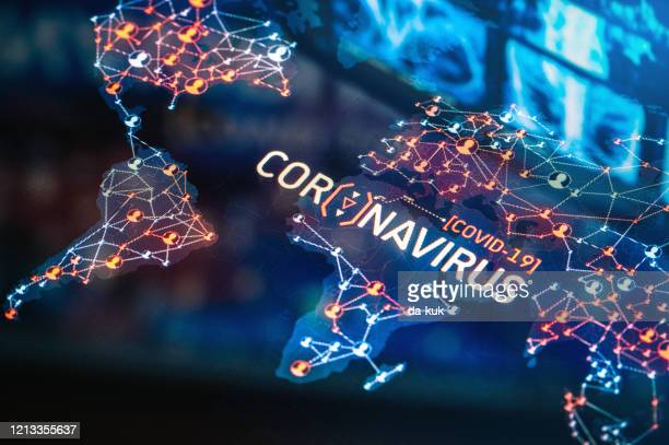 coronavirus outbreak on a world map - covid 19 stock pictures, royalty-free photos & images
