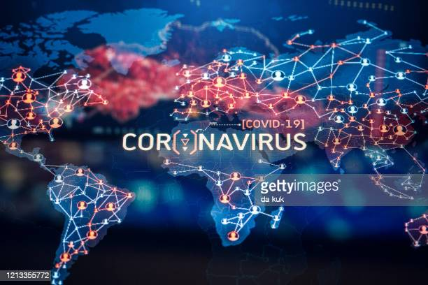coronavirus outbreak on a world map - epidemic stock pictures, royalty-free photos & images