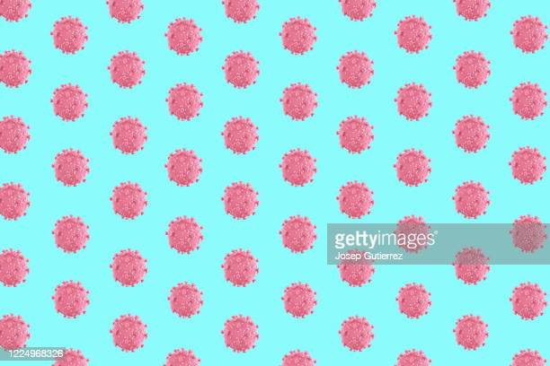3d coronavirus rendering illustration wallpaper. pink over blue background. colored pattern rows - viral infection stock pictures, royalty-free photos & images
