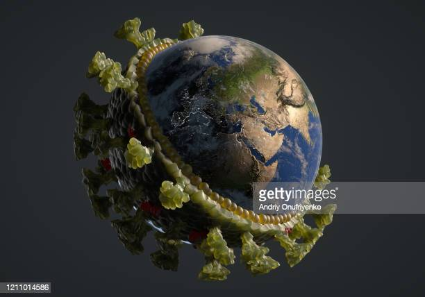 coronavirus structure - planet earth stock pictures, royalty-free photos & images