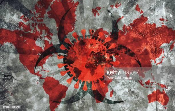 coronavirus with world map and biohazard symbol - perigo - fotografias e filmes do acervo