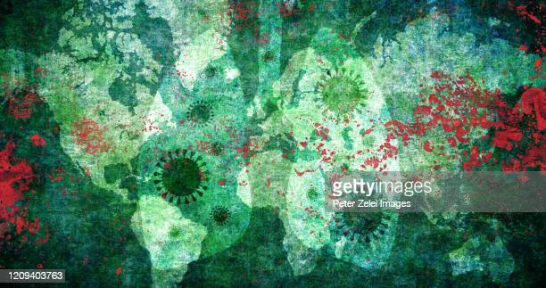 coronavirus with world map and lungs - epidemic stock pictures, royalty-free photos & images