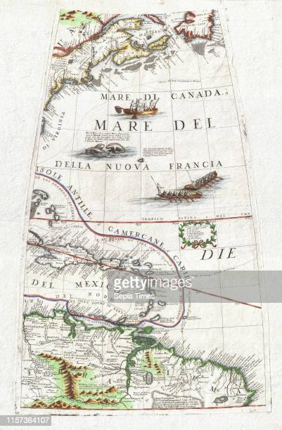 1688 Coronelli Globe Gore Map of NE North America the West Indies and NE South America