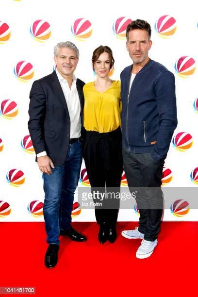 Coroner Michael Tsokos German actress Annika Kuhl and German actor Tim Bergmann attend the SAT1 Fiction photo call on September 26 2018 in Hamburg...