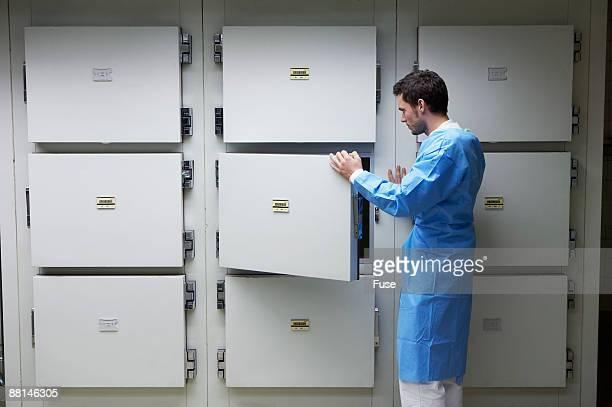 coroner standing in morgue - morgue fotografías e imágenes de stock