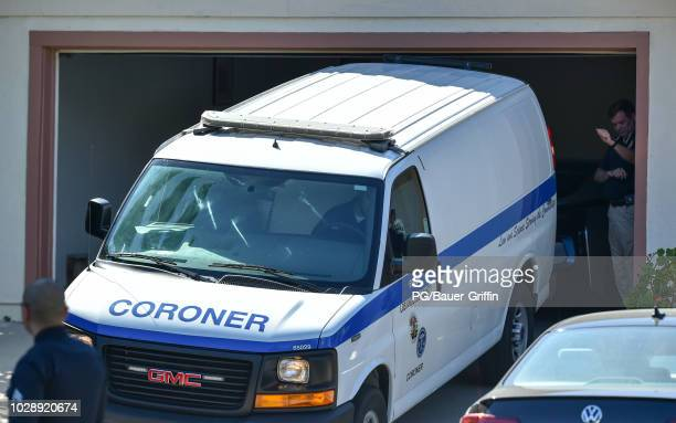 Coroner's van is seen outside the home of rapper Mac Miller on September 7, 2018 in Los Angeles, California. Miller died today of a suspected drug...