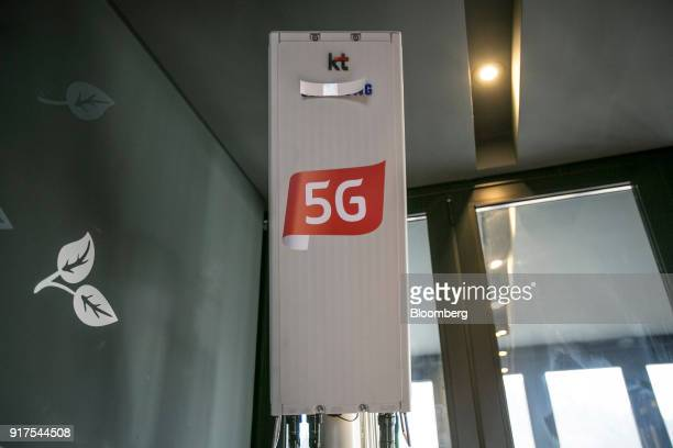 Corp 5G network router stands inside the 5G Village Cafe in Uiyaji Wind Village Pyeongchang South Korea on Saturday Jan 20 2018 5G the...