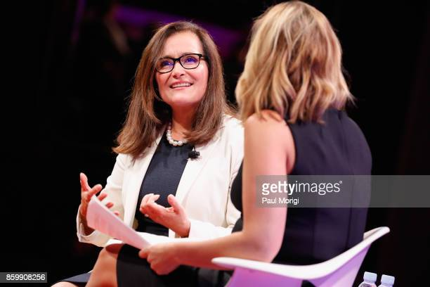 Corp CEO and President Geisha Williams and CNN Newsroom Anchor Poppy Harlow speak onstage at the Fortune Most Powerful Women Summit Day 2 on October...