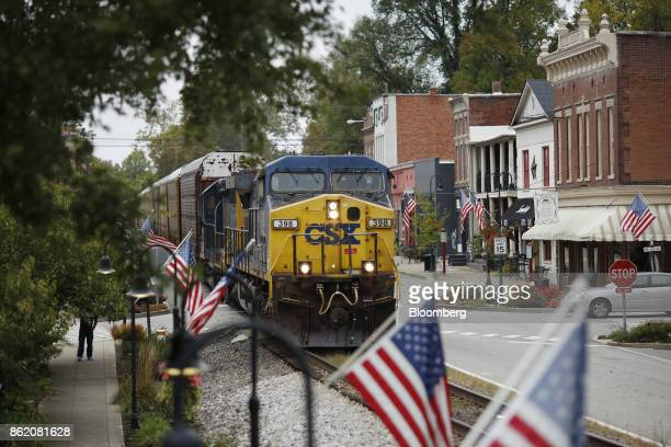 Corp freight train passes through downtown La Grange Kentucky US on Sunday Oct 15 2017 CSX is scheduled to release earnings figures on Oct 17...