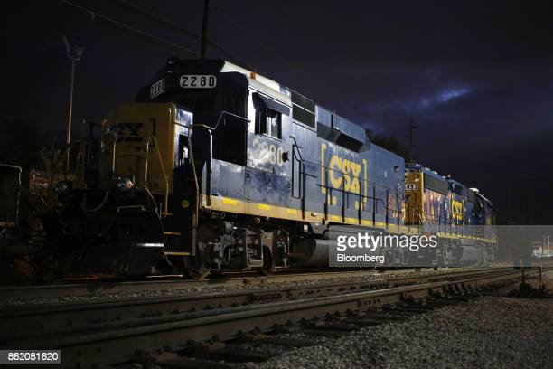 CSX Corp locomotives sit parked at a train yard in Louisville Kentucky US on Sunday Oct 15 2017 CSX is scheduled to release earnings figures on Oct...