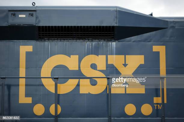 CSX Corp signage is seen on the side of an ElectroMotive Diesel Inc GP30 locomotive in Louisville Kentucky US on Sunday Oct 15 2017 CSX is scheduled...