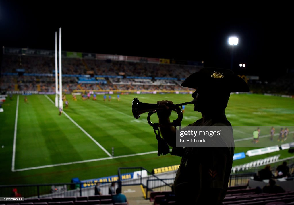 Corporal Ben Cobden of the Australian Army poses with the Bugle before the start the round eight NRL match between the North Queensland Cowboys and the Canberra Raiders at 1300SMILES Stadium on April 28, 2018 in Townsville, Australia.