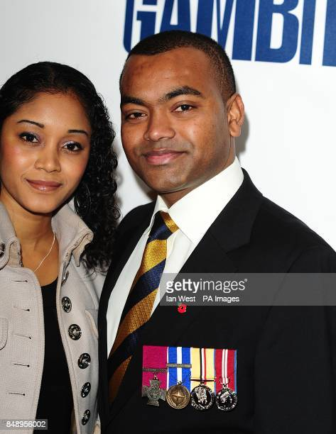 Corporal Johnson Gideon Beharry VC arriving for the premiere of Gambit at the Empire Leicester Square London
