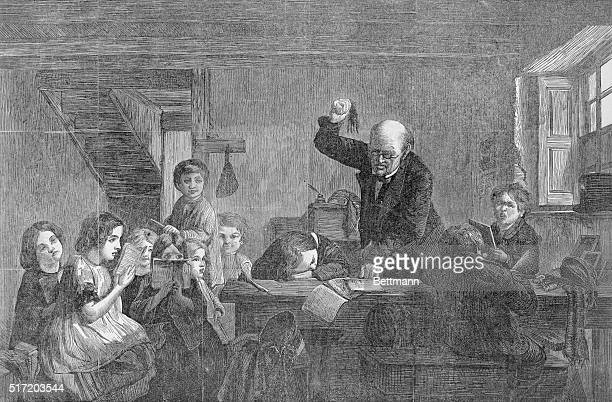 Corporal punishment in school Teacher punishes child caught napping Engraving 1866