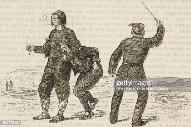 Corporal punishments of Turkish soldiers flogging RussoTurkish War illustration from the magazine The Graphic volume XVI no 418 December 1 1877