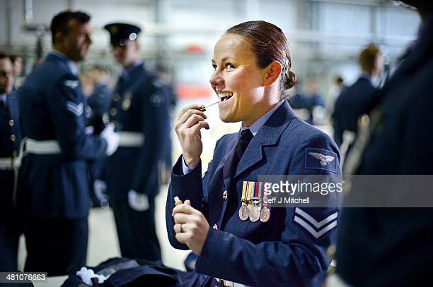 Corporal Robyn MuscroftBloomfield of 12 squadron joins personnel 617 squadron the Dambusters for their disbandment parade at RAF Lossiemouth on March...