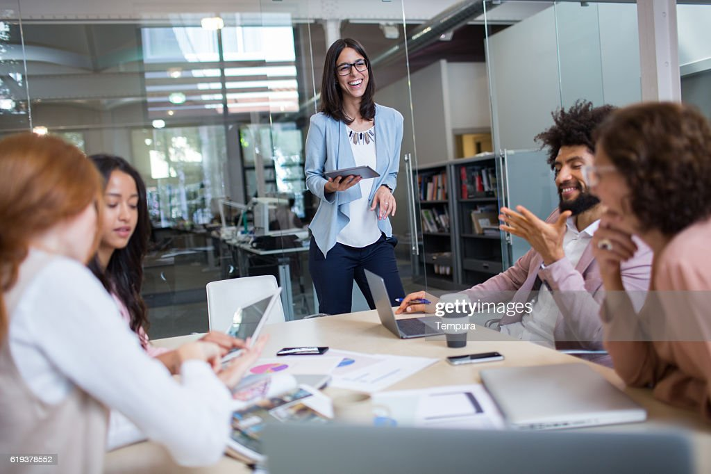 Corporate business meeting in board room. : Stock Photo