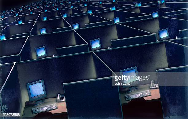 corporate cubicles - conformity stock pictures, royalty-free photos & images
